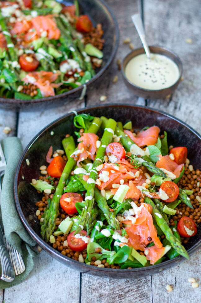 recept zalm en asperge salade met linzen © bettyskitchen.nl