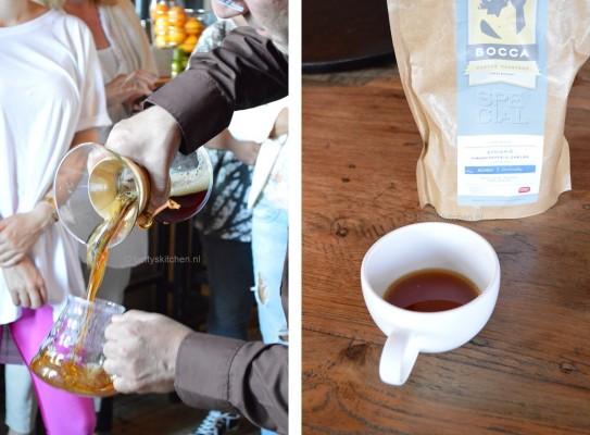 Slowcoffee workshop bij Fifteen Amsterdam tijdens het Jamie Foodbloggers Event