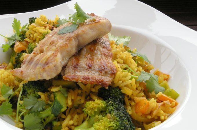 Gewokte rijstschotel met Claressefilet