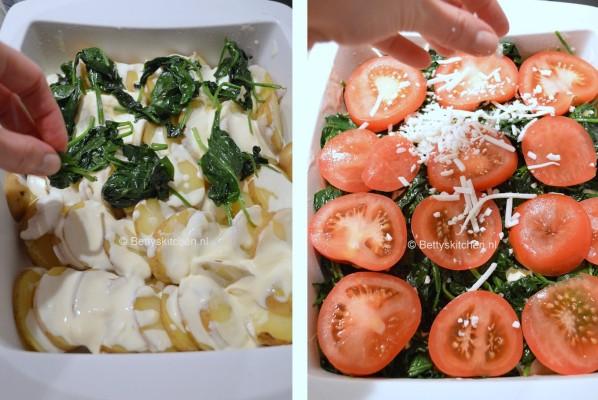 Aardappelschotel met spinazie en geitenkaas
