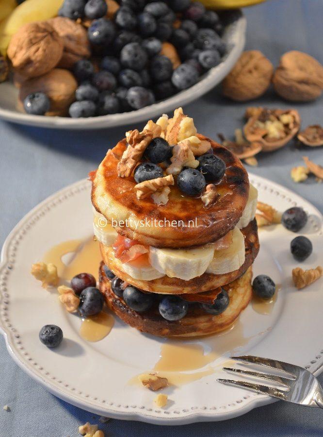 recept voor bacon banana blueberry pancakes © bettyskitchen.nl