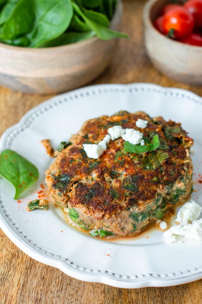 recept hamburger met feta en spinazie