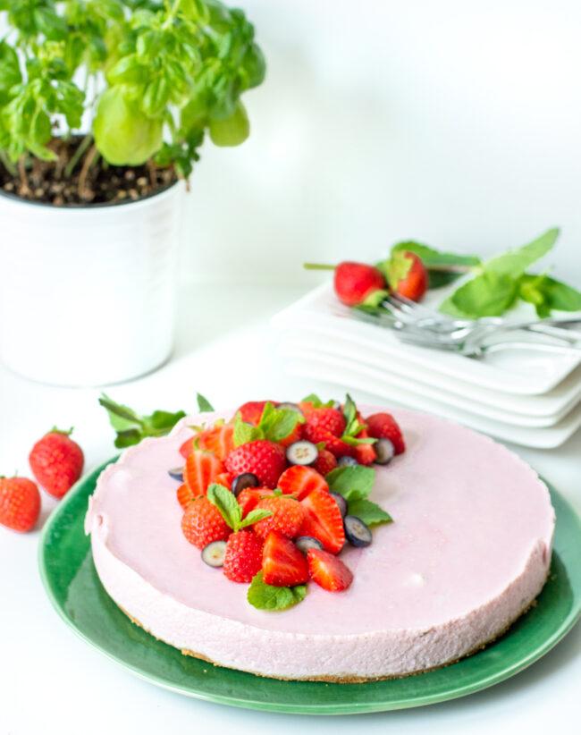 recept kwarktaart met aardbeien