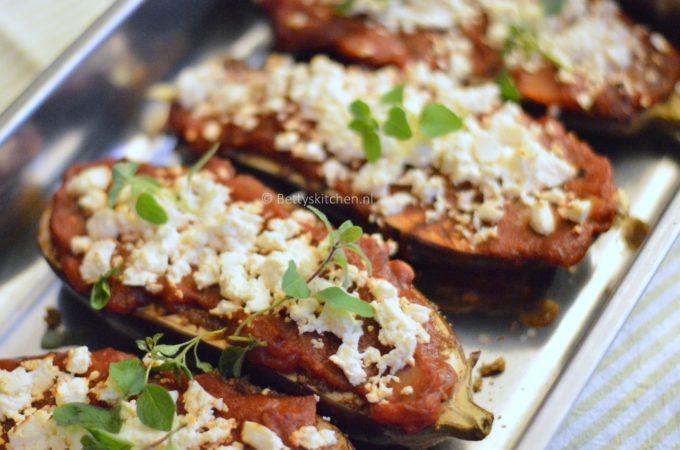 Aubergines met feta uit de oven (op Turkse wijze)