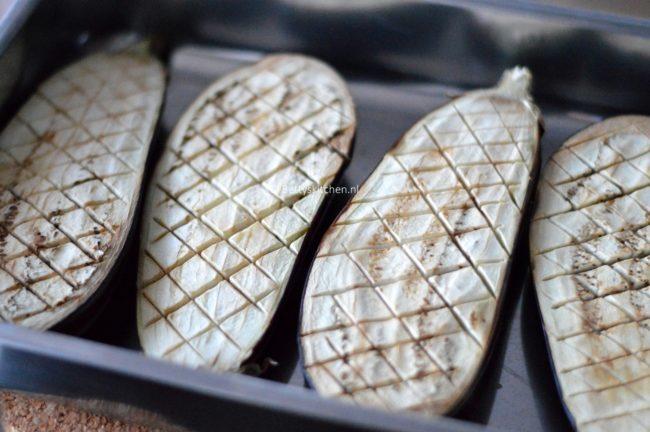 Aubergines met feta uit de oven op Turkse wijze
