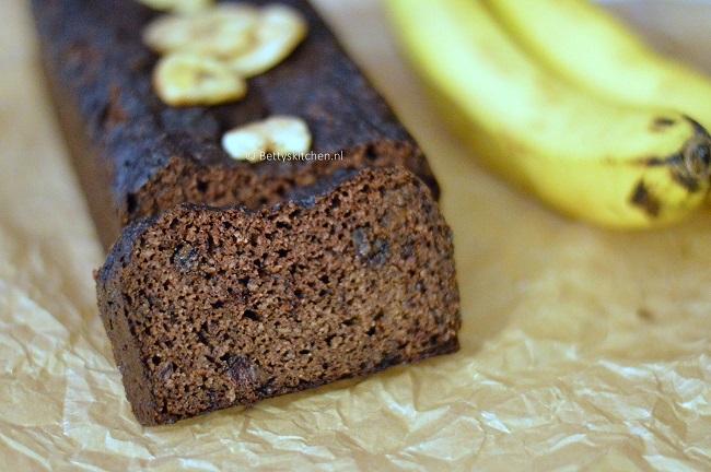 Bananabread met chocolade glutenvrij suikervrij voedselzandloper