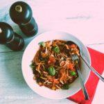 recept taughetti met bolognesesaus lowcarb groente pasta