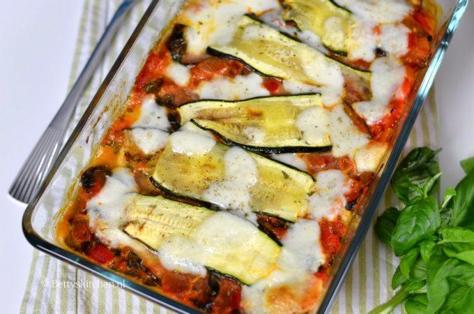 Groente lasagne met courgette en aubergine
