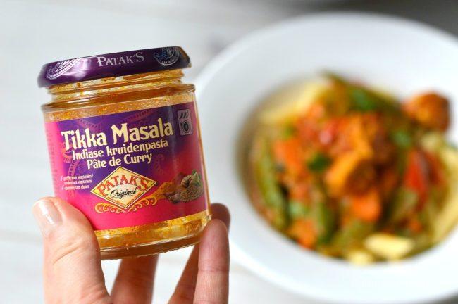 Pasta met Tikka Masala saus van patak's