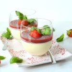 panna cotta met aardbeien en basilicum recept