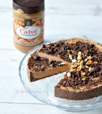 Pindakaastaart met chocolade (gluten-, ei- en lactosevrij)