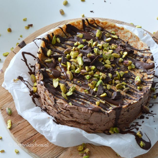 recept pannenkoekentaart met chocolade en pistachenoten betty's Kitchen zoete dessert taartrecepten