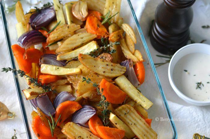 Wintergroenten uit de oven (met Salt 'n Pepper Fries)