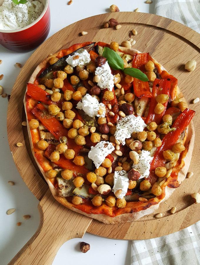 Libanese pizza met gegrilde groenten