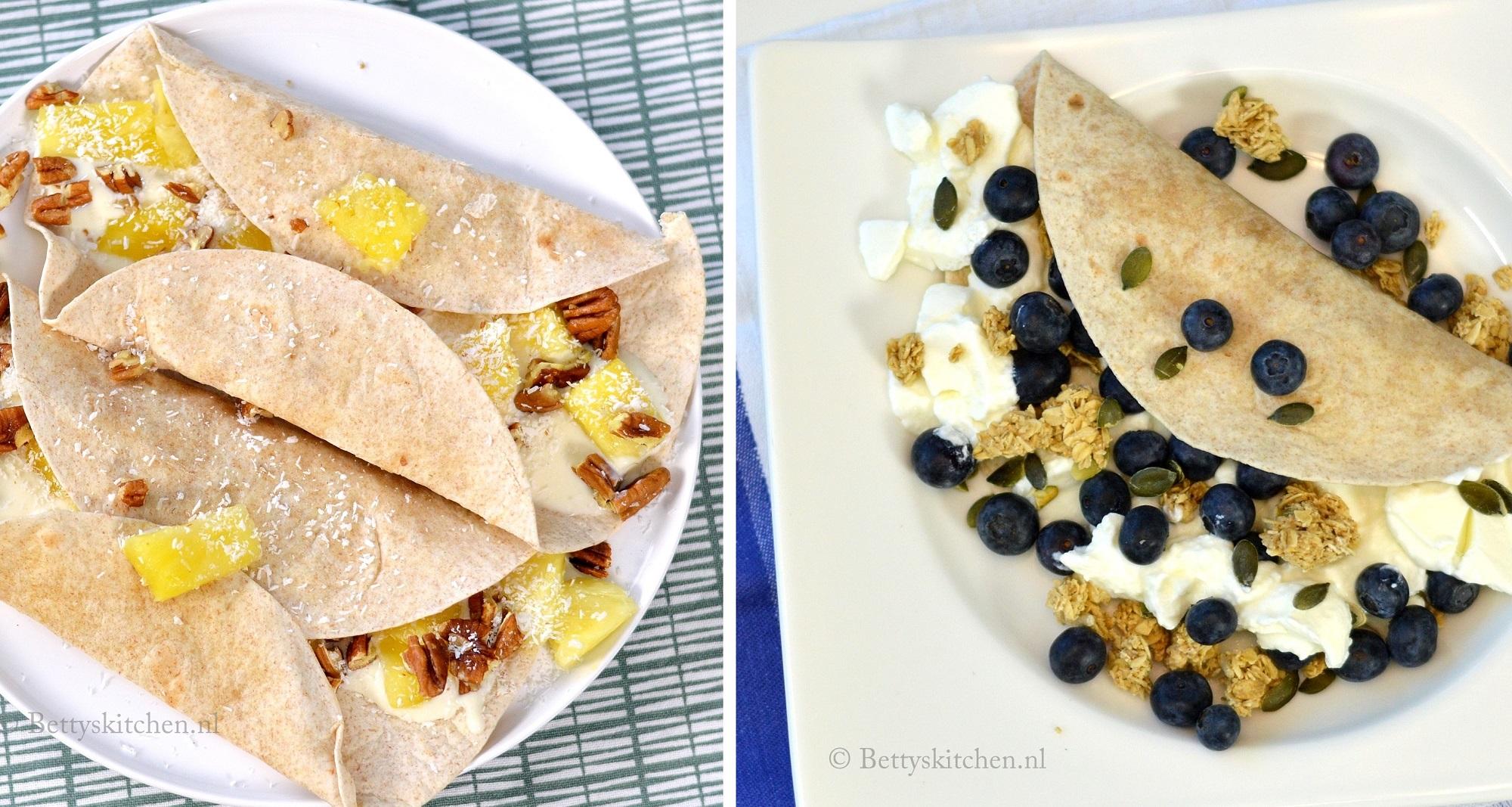 6x wraps met fruit ontbijt