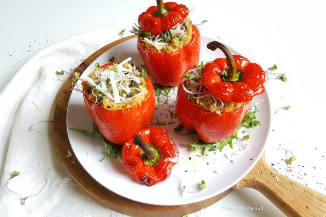 Gevulde paprika met quinoa italiaans