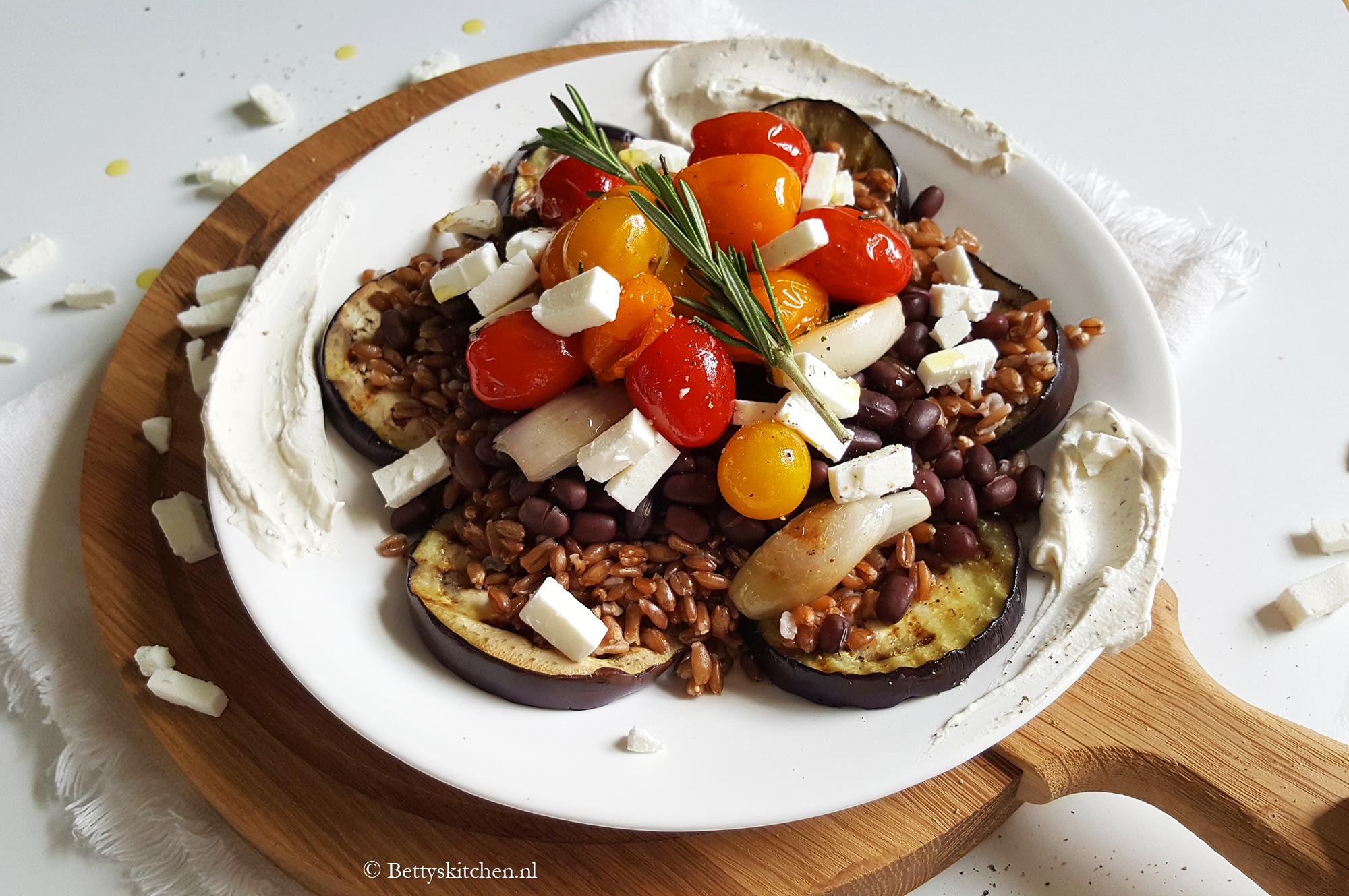 Speltsalade met gegrilde groenten