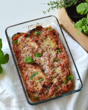 recept melanzane aubergine parmigiana met parmezaanse kaas uit de oven betty's Kitchen