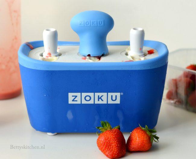 recept aardbei yoghurt ijsjes maken zoku quick pop maker recept