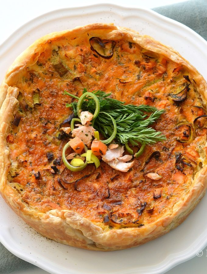 recept quiche met zalm en prei oven hartige taart betty's kitchen