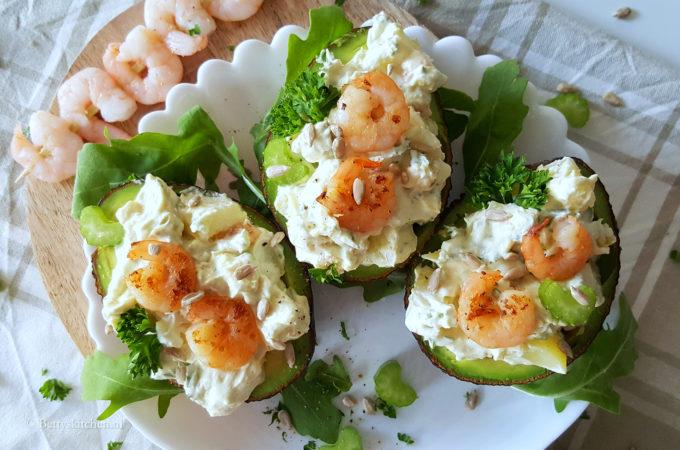 Garnalen met avocado en crème fraîche