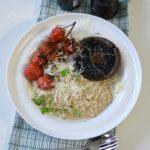 recept hartig havermout ontbijt met parmezaanse kaas portobello tomaat