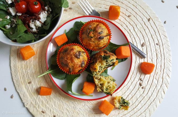 Kaasmuffins met pompoen en spinazie