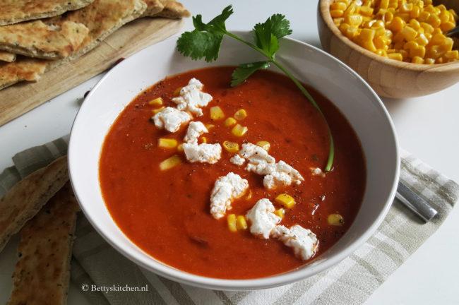 Mexicaanse Rode bonensoep met tomaat en mais