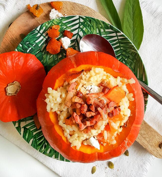 recept pompoen risotto met spekreepjes en geitenkaas