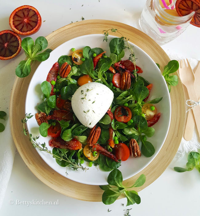 recept Burrata salade met bloedsinaasappel Bettys kitchen