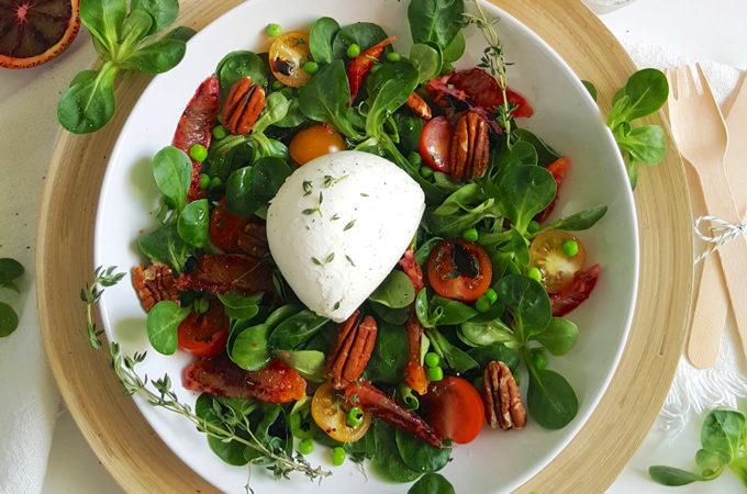 Burrata salade met bloedsinaasappel
