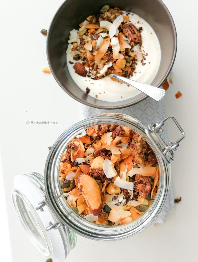 recept noten granola met kokos