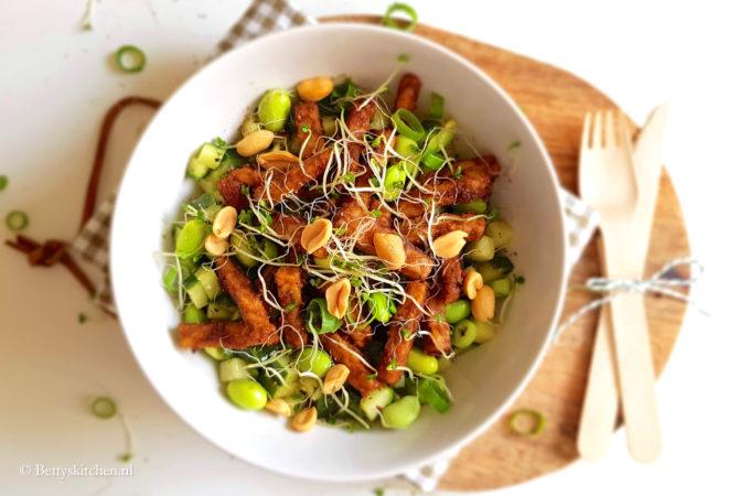 Pinda tempeh salade met gegrilde komkommer