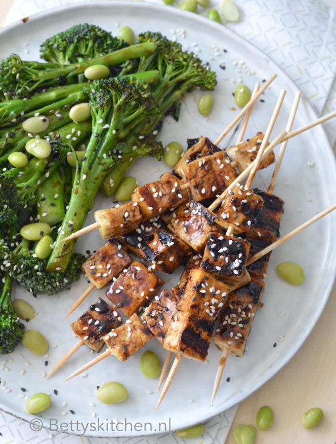 recept teriyaki tofu spiesjes bbq kookvideo © bettyskitchen.nl