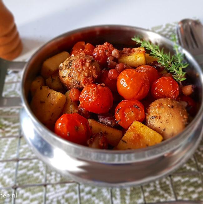 recept voor gebakken polenta uit de oven met gegrilde groenten © bettys kitchen vegetarisch recept
