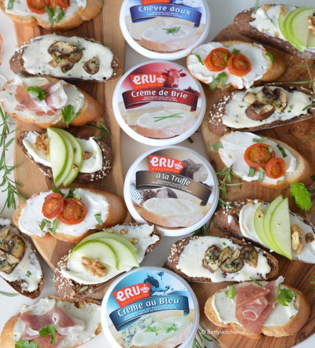 15x borrelhapjes voor oud en nieuw - recept 4x crostini met kaas van ERU maken © Bettyskitchen
