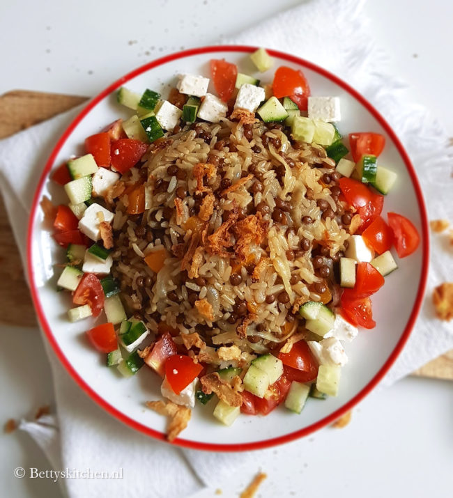 mujadara met linzen en rijst recept