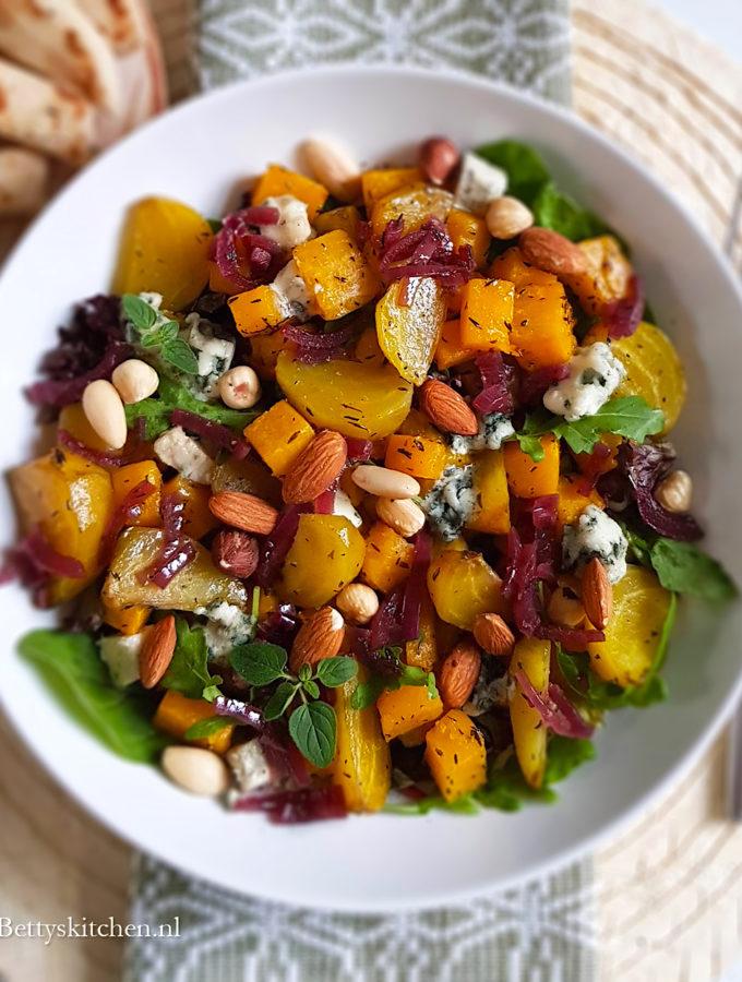 pompoen salade met bietjes recept © bettys kitchen