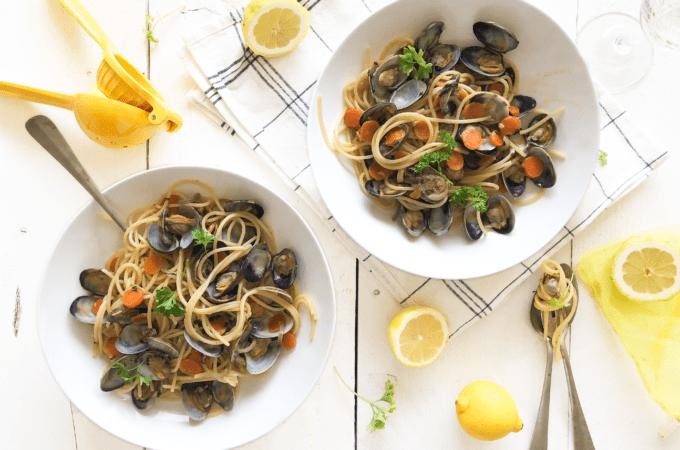 Spaghetti vongole met citroen van The Lemon Kitchen