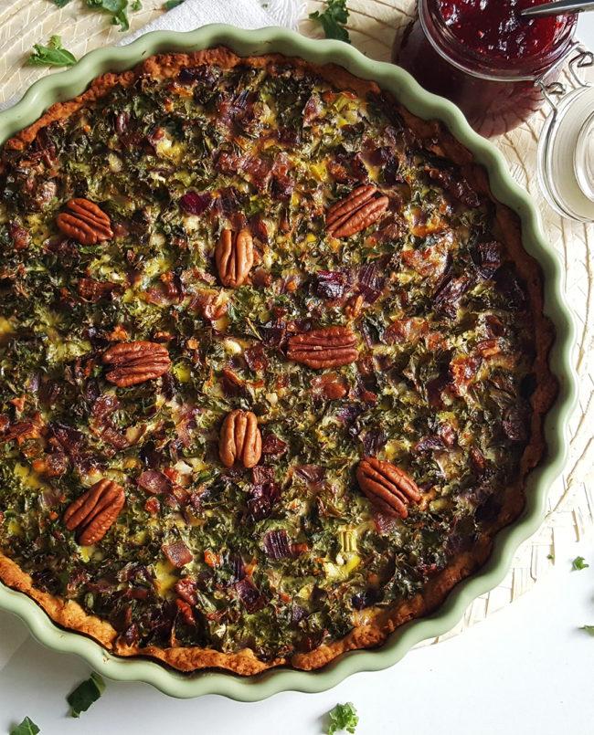 7x Recepten met boerenkool - boerenkool quiche met cranberry compote