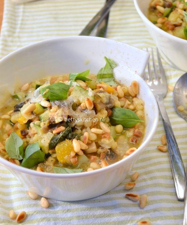 10x Vegetarische Pasta Recepten -fregula met courgette