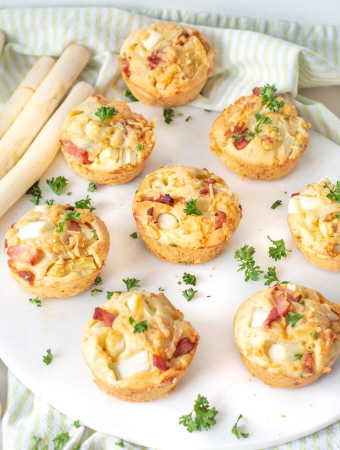 recept asperge muffins met ham en kaas