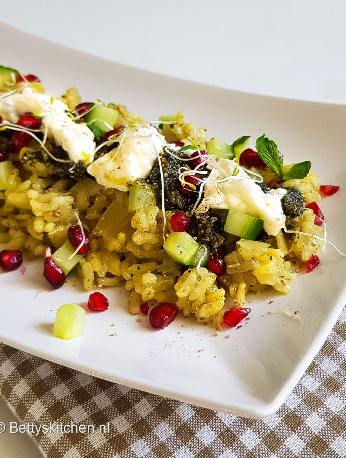 recept frisse risotto met komkommer en munt pesto © bettys kitchen