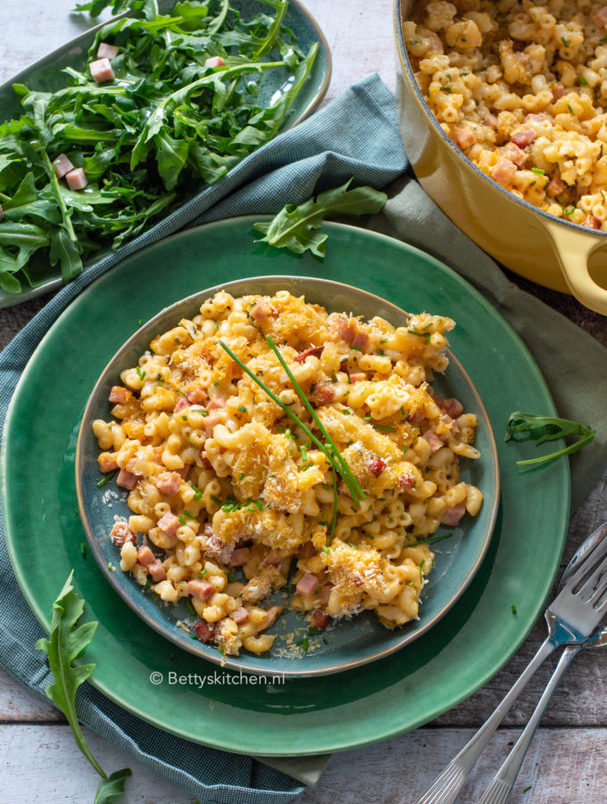 recept mac n cheese met ham kookvideo © bettys kitchen
