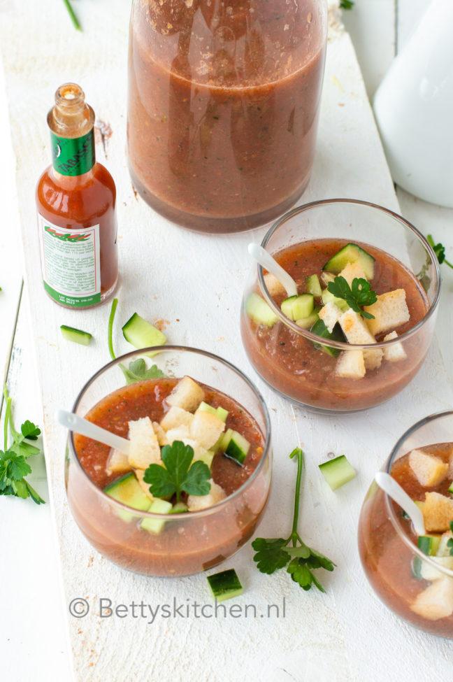 recept voor gazpacho maken koude Spaanse groente soep © bettyskitchen