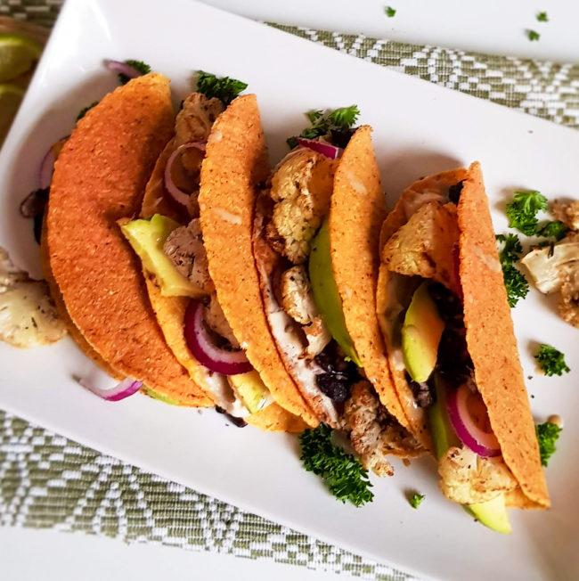 recept tacos met geroosterde bloemkool en tahin