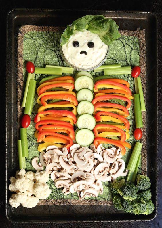 gezonde halloween snacks - veggie tray