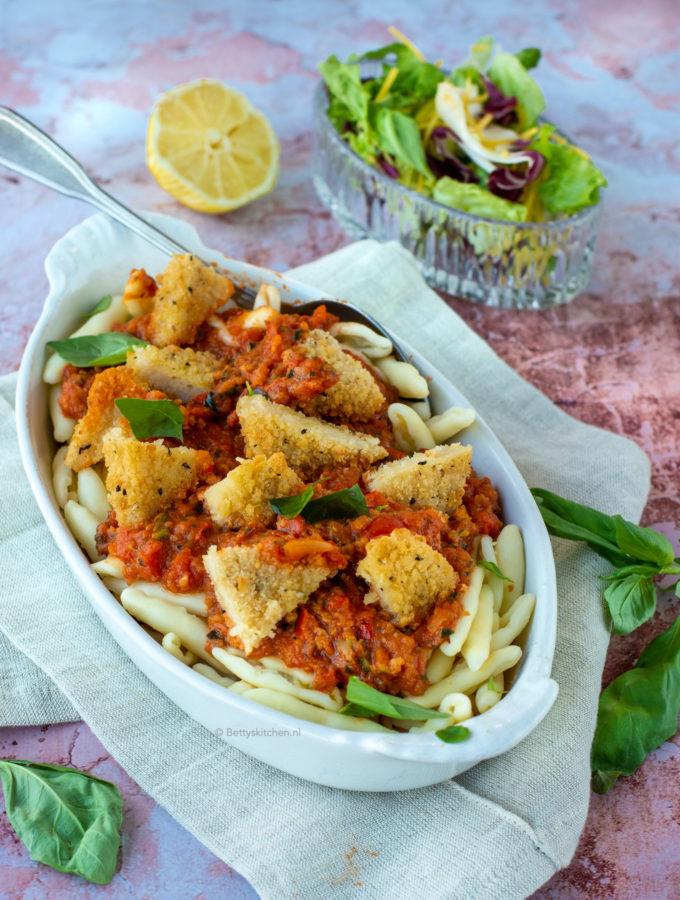 recept pasta met vegan vis quorn © bettyskitchen.nl