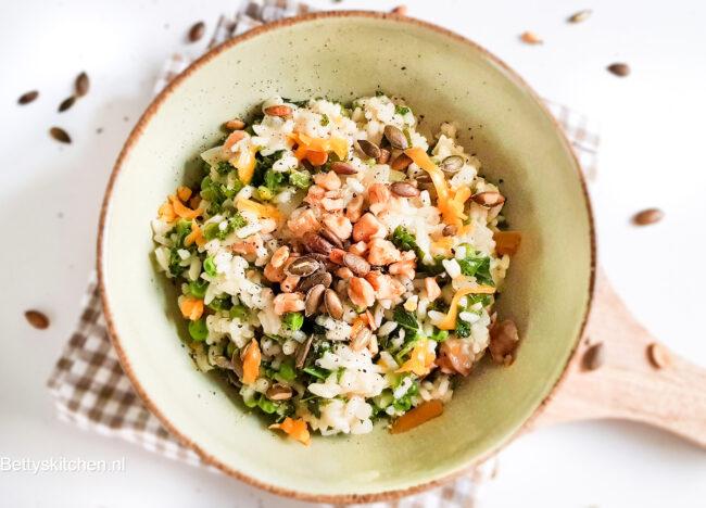 recept voor vegetarische boerenkool risotto met erwtjes