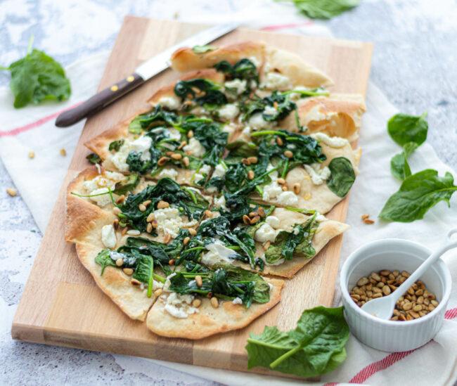 recept flammkuchen met spinazie en geitenkaas EEFKOOKTZO